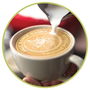 Free Range Dairy | Coffee cup with PP Logo