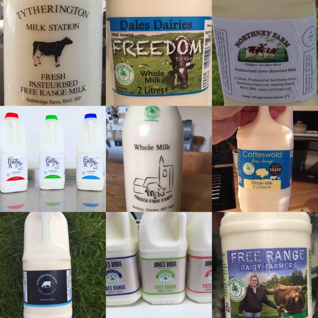 Free Range Dairy | Various milk bottles