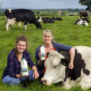 Free Range Dairy | Jenni and daughter with cow relaxing in field